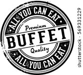 all you can eat buffet vintage... | Shutterstock .eps vector #569331229