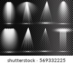 Stock vector vector light sources concert lighting stage spotlights set concert spotlight with beam 569332225