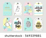 set with happy easter gift tags ... | Shutterstock .eps vector #569339881