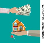 hands with money and house.... | Shutterstock .eps vector #569340895