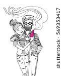 vector ink hand drawn... | Shutterstock .eps vector #569353417