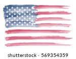 watercolor american flag.grunge ... | Shutterstock .eps vector #569354359