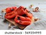 roasted sweet red peppers | Shutterstock . vector #569354995