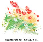 poppies and wild flowers | Shutterstock .eps vector #56937541