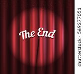 curtain red. the end message.... | Shutterstock .eps vector #569377051