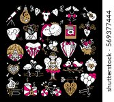 st. valentines icons. romantic... | Shutterstock .eps vector #569377444