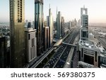 dubai skyline in sunset time ... | Shutterstock . vector #569380375