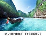 boat and beautiful sea  phi phi ... | Shutterstock . vector #569380579