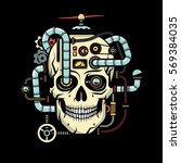 skull with implanted steampunk... | Shutterstock .eps vector #569384035