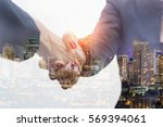 double exposure of two business ... | Shutterstock . vector #569394061
