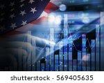 double exposure of business... | Shutterstock . vector #569405635