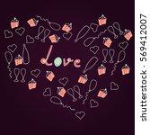 cupcakes  hearts  balloons ... | Shutterstock .eps vector #569412007