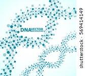 abstract dna spiral  molecule... | Shutterstock .eps vector #569414149