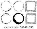 vector set of black circles and ... | Shutterstock .eps vector #569421835