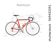 road bicycle infographic... | Shutterstock .eps vector #569433391