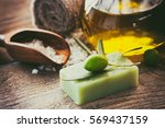 natural spa setting with olive... | Shutterstock . vector #569437159