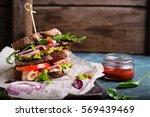 fresh sandwich with guacamole ... | Shutterstock . vector #569439469