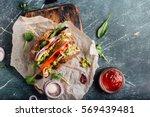 fresh sandwich with guacamole ...   Shutterstock . vector #569439481