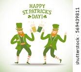cute cartoon leprechauns with... | Shutterstock .eps vector #569439811