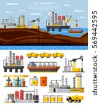 oil industry composition with... | Shutterstock .eps vector #569442595