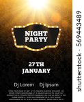 disco night party poster... | Shutterstock .eps vector #569443489