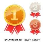 set of winner medals. first... | Shutterstock .eps vector #569443594