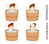 girl relaxing in hot spring... | Shutterstock .eps vector #569446201