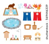 Hot Spring Objects Icons Set ...