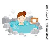 girl relaxing in hot spring ... | Shutterstock .eps vector #569446405