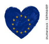 hand drawn heart with europe... | Shutterstock . vector #569446489