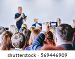 speaker with microphone making... | Shutterstock . vector #569446909