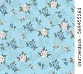 seamless vintage flower pattern ... | Shutterstock .eps vector #569455261