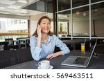 young woman is smiling for...   Shutterstock . vector #569463511