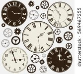 set of old clocks and parts of... | Shutterstock .eps vector #569467255