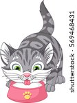 kitten drinks milk | Shutterstock .eps vector #569468431