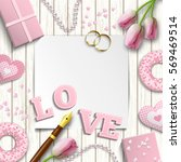 Romantic Background With Pink...