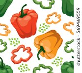 seamless  vegetable background... | Shutterstock .eps vector #569469559