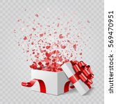 gift box and hearts confetti... | Shutterstock .eps vector #569470951
