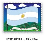 stamp with flag from argentina  ... | Shutterstock .eps vector #5694817