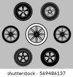 set wheel car tire black white...   Shutterstock .eps vector #569486137