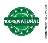 100 natural stamp shows pure... | Shutterstock .eps vector #569490655