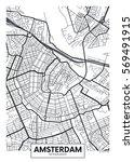 vector poster map city amsterdam | Shutterstock .eps vector #569491915