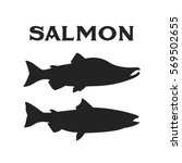 salmon on vintage style for... | Shutterstock .eps vector #569502655