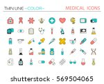 medical icons  line style.... | Shutterstock .eps vector #569504065