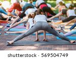 group free exercise class for... | Shutterstock . vector #569504749