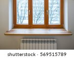 Wooden Window. Heater Radiator...