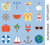holiday and vacation on sea... | Shutterstock .eps vector #569516095