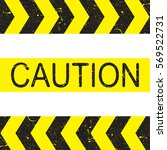 caution sign. arrow yellow and... | Shutterstock .eps vector #569522731