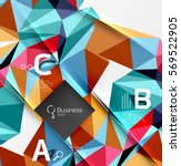 colorful triangle mosaic 3d... | Shutterstock .eps vector #569522905