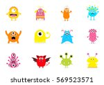 monster big set. cute cartoon... | Shutterstock . vector #569523571